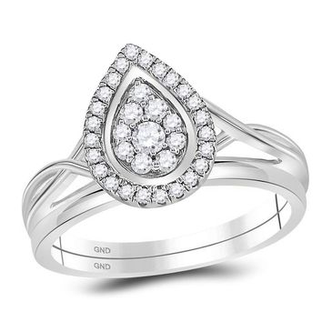 10kt White Gold Womens Diamond Teardrop Cluster Bridal Wedding Engagement Ring Band Set 1/3 Cttw