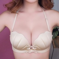 Women Push Up Pull Rope Bra Shell-shaped Adjustable Bra Without Rims Non-trace Bra Sexy Lingerie Beauty Back