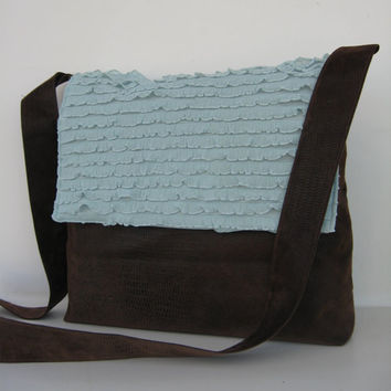Messenger Bag in Brown and blue Ruffle by jazzygeminis on Etsy