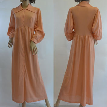 Vintage Formfit Rogers Peach Orange Half Zip Robe, Nursing Gown