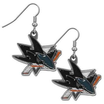 San Jose Sharks Dangle Earrings (Chrome) NHL Licensed Hockey Jewelry