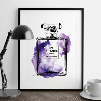 Chanel No.5 water colour purple, Perfume Print-PRINTABLE FILE - A4 perfume Chanel poster, Fashion art, Gift for her