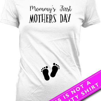 Mother's Day Pregnancy Announcement Shirt Mommy's First Mother's Day Shirt Pregnancy Reveal Maternity Clothing Mom To Be Ladies Tee MAT-519