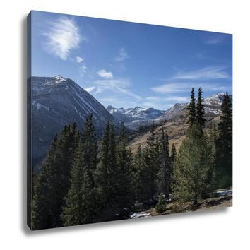 Gallery Wrapped Canvas, Blue Sky With Snow Capped Mountains And Evergreen Trees