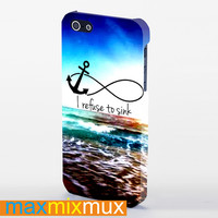 Anchor Moon I Refuse To Sink iPhone 4/4S, 5/5S, 5C Series Full Wrap Case