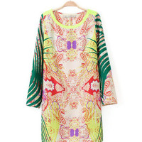 Multi-Color Totem Print Long Sleeve Mini Shift Dress