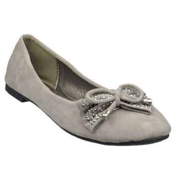 Womens Tassel Accent Studded Bow Ballet Flats Taupe