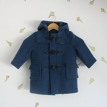 vintage 70s children's coat / gloverall / duffle coat / british classic / blue wool / horn toggle / fall + winter / kids / 2