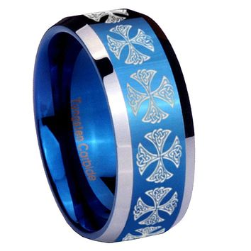 8mm Medieval Cross Beveled Edges Blue 2 Tone Tungsten Mens Ring Engraved