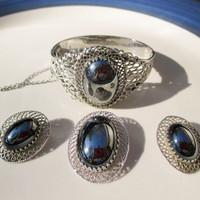 Whiting and Davis Hematite & Filigree  Demi Parure Ornate Hinged Bracelet Brooch Earrings