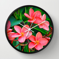 Red Orange Plumeria Flowers - Wall Clock, Beach Tropical Style Round Circular Hanging Clock. Available in Black / White / Natural Wood Frame