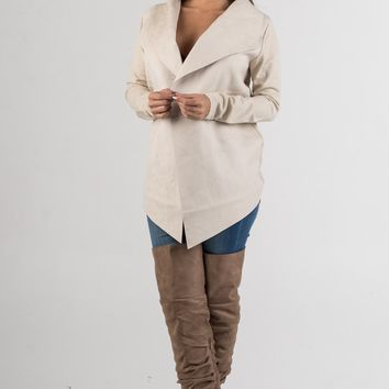 Ivory Suede Waterfall Jacket