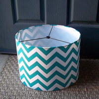"Drum Lamp Shade True Turquoise chevron / lampshade 12""x10"""