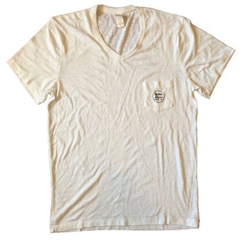 MEN'S (OR WOMEN'S BOYFRIEND) VINTAGE V-NECK POCKET TEE IN CREME