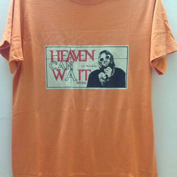 Rare Vintage Nirvana Heaven Can Wait 90s T-Shirt Grunge Rock Kurt Cobain