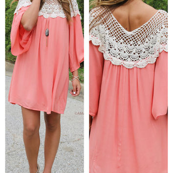 French Delight Coral Crochet Lace Swing Dress