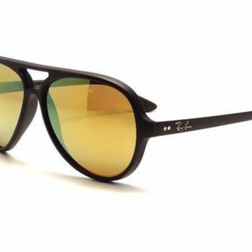 Kalete 100% AUTHENTIC Ray-Ban Aviator Sunglasses CATS 5000 RB 4125 601S/93 Mirror Gold
