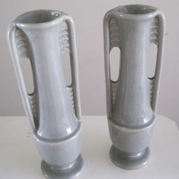 "Pair Shawnee Pottery Bud Vases Gray Home Decor 8"" Tall USA 1178 Vintage - FL"