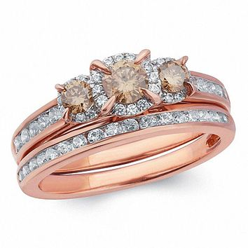 1 CT. T.W. Champagne and White Diamond Frame Three Stone Bridal Engagement Ring Set in 14K Rose Gold