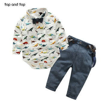 Top and Top Baby Boys Clothing Sets Summer Fashion  Infant Clothing Toddler Gentleman Suits Long Sleeve Shirts + Suspenders Pant