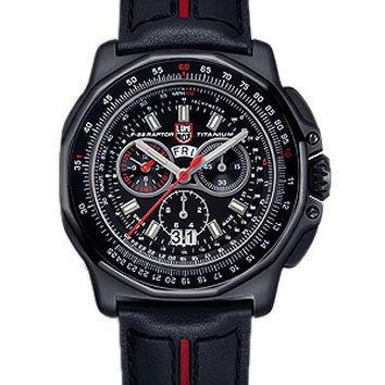 Luminox Mens F-22 Raptor Chrono - Black PVD Titanium - Leather Strap - Retired