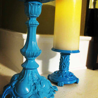 Two Pillar Turquoise Candle Holders by CockADooodleDoooo on Etsy