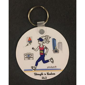 Boston Keychain - Strength in Numbers 26.2 Marathon - non personalized
