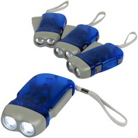 Evelots Set Of 4 Powerful Hand Crank Flashlights with White LED Lights