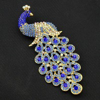 2017 Large Brooches Pins For Women Blue Peacock Brooch Pins Broches Para As Mulheres As Christmas Gift For Best Friends