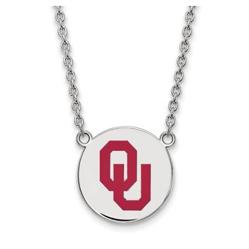 NCAA Sterling Silver Oklahoma Large Enamel Disc Pendant Necklace