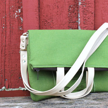 Green Fold over Tote/Purse/Crossbody with Rouched detail and leather accents