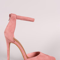 Shoe Republic LA Suede Ankle Strap Stiletto Pump
