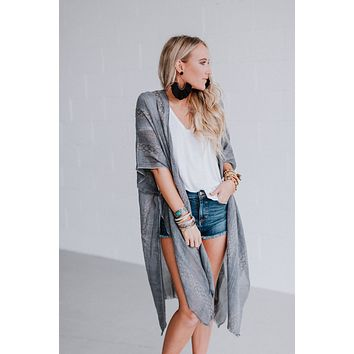 Sunny Afternoon Duster Kimono - Charcoal