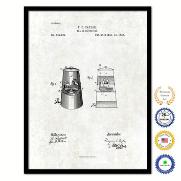 1887 Tea or Coffee Pot Vintage Patent Artwork Black Framed Canvas Print Home Office Decor Great for Coffee Lover Cafe Tea Shop
