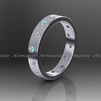 Blue Diamond Band, White And Blue Diamond Wedding Band, 14k White Gold Eternity Ring, Promise Ring, Right Hand Ring. Re0003