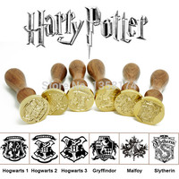 ST004 Harry Potter Wax Seal stamp Hogwarts Crest Gryffindor Slytherin Malfoy house LOGO + sealing wax high quality wooden stamp