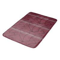 Red Geometric Pattern Bath Mat