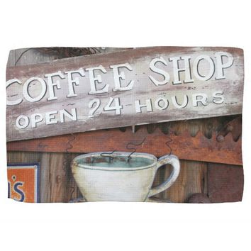 Coffee Shop Cafe Sign Hand Towels