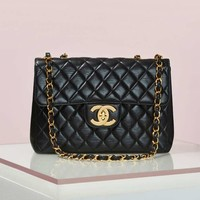 Vintage Chanel Quilted Black Leather Jumbo Bag