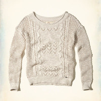 Girls Slouchy Open-Stitch Pullover Sweater | Girls Tops | HollisterCo.com