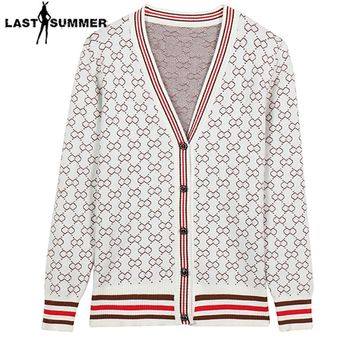 New Spring 2018 Women Sweater Cardigans Casual Warm  Fashion Design Female Knitted Sweater Coat Printed Cardigan Sweater Lady