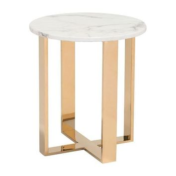 Atlas End Table Faux Marble & Gold