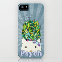 Hello Psych Kitty  iPhone & iPod Case by Alohalani