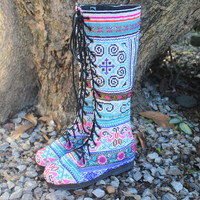 Sadie Womens Boho Boots Blue Hmong Embroidery With Butterflies