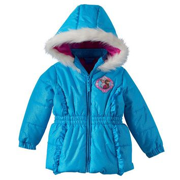 Disney's Frozen Elsa & Anna Foiled Dot Hooded Puffer Jacket - Toddler Girl, Size: