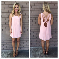 Blush Pink Stranded Sleeveless Shift Dress