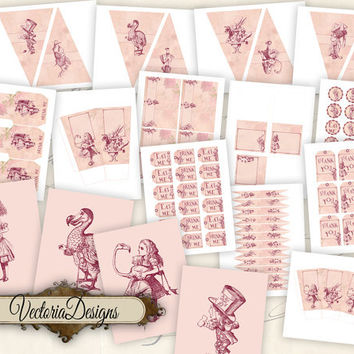 INSTANT DOWNLOAD Alice in Wonderland Tea Party Pack Printable Pink Party Pack digital collage sheet VD0406
