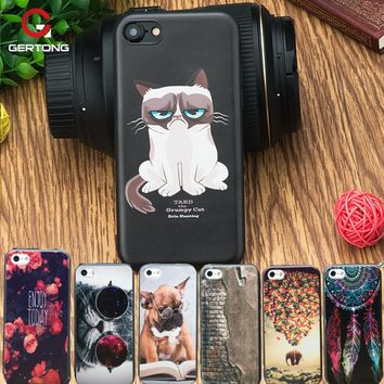 GerTong TPU Case For iPhone 7 8 6 6S Plus 5S 5 S SE Cover Dog Cat Patterned Silicone Coque Cases For iPhone 7 Funda Phone Shell