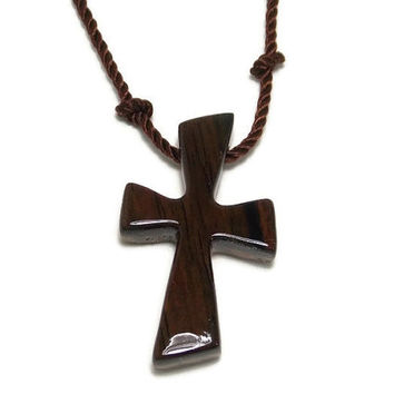 Simple Cross Necklace, Wooden Cross Jewelry, Cross Necklace, Handmade Wood Necklace, Gifts under 20