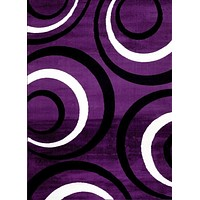 2029 Purple Circles Contemporary Area Rugs
